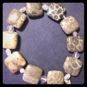 Fossilized Coral & Rose Quartz Bracelet